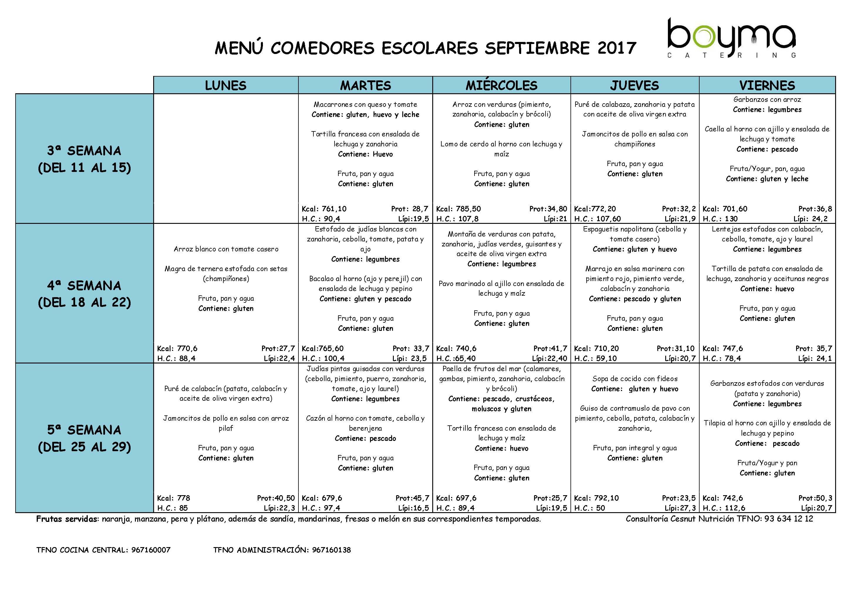 menu septiembre 2017 SAN FULGENCIO